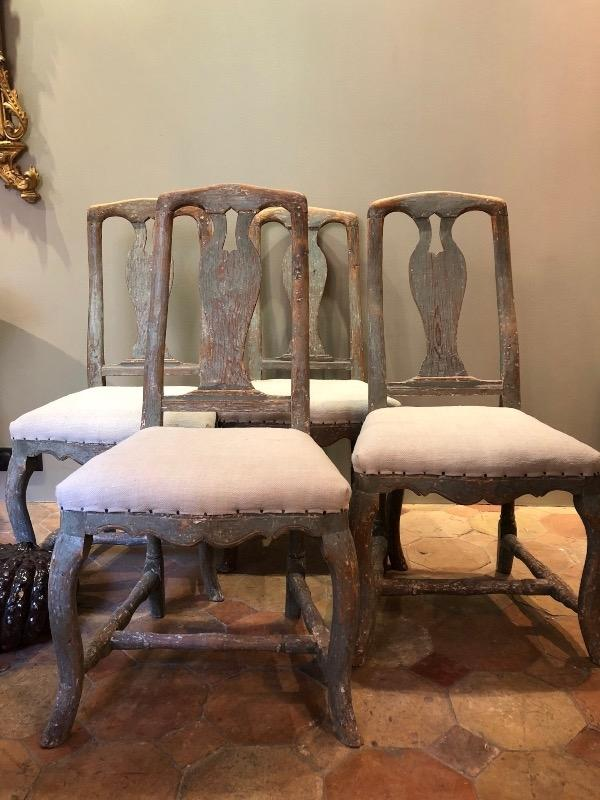 4 rococo swedish chairs with original blue paint