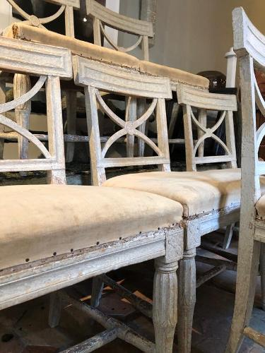 6 Swedish chairs circa 1800 with nice original cream patina
