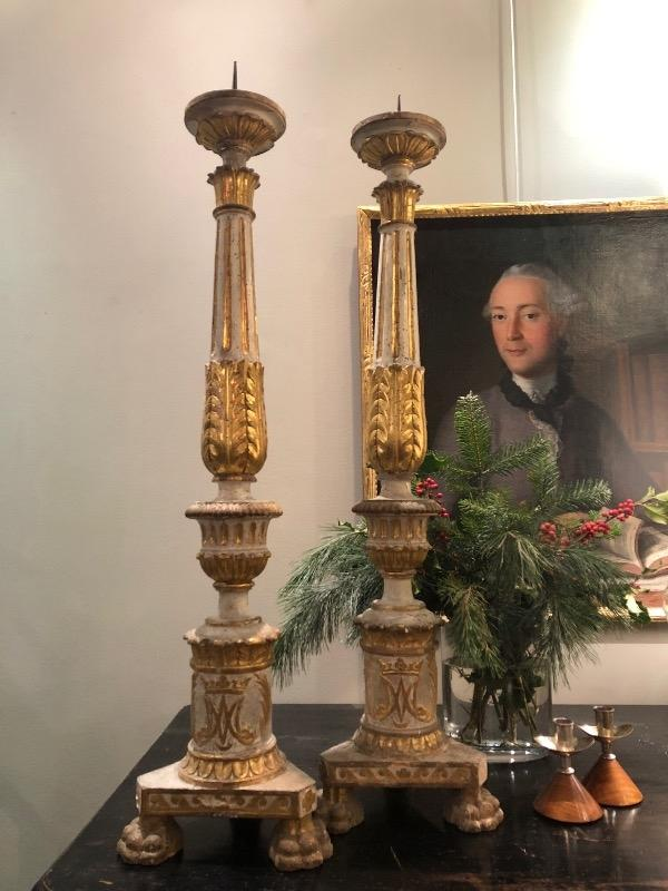 Big pair of Italians candelholders 18th c