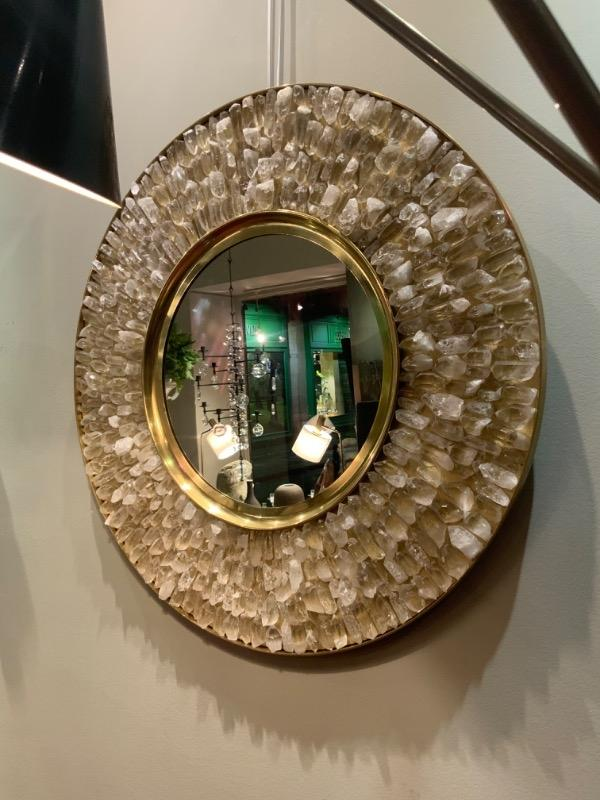 Brass mirror with rock crystal