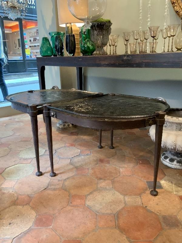 Bronze and molded glass coffee table in 2 parts circa 1970