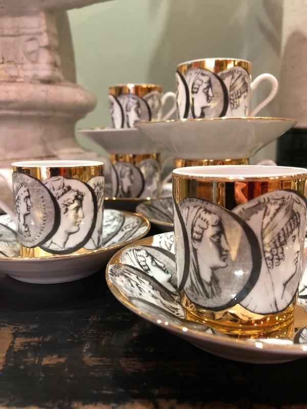 Fornasetti 8 porcelain espresso cups and saucers