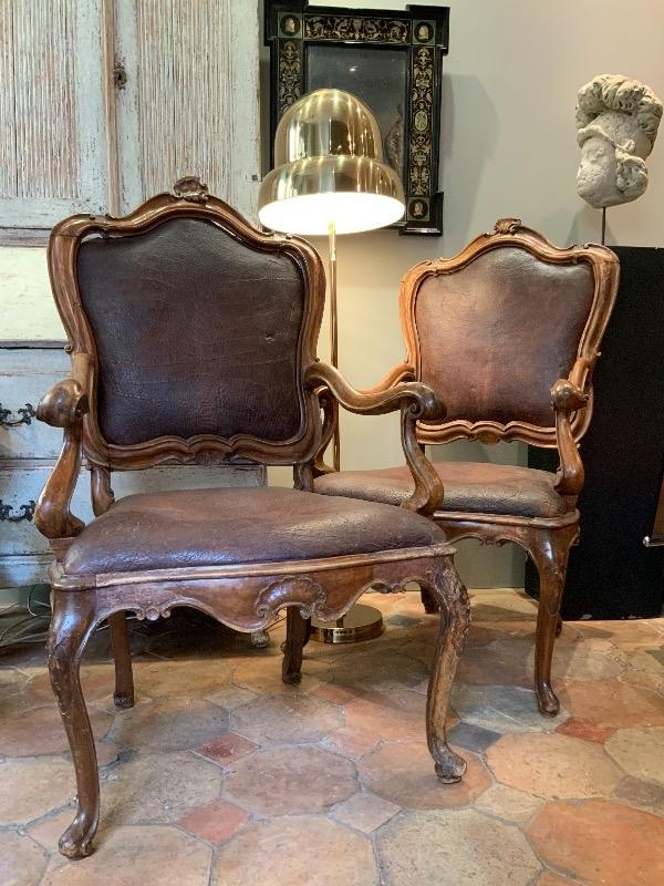 Large pair of Italian armchairs 18th c Venice