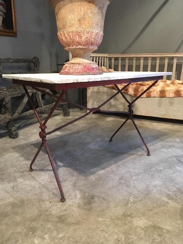 Nice iron table 19th c old marble top