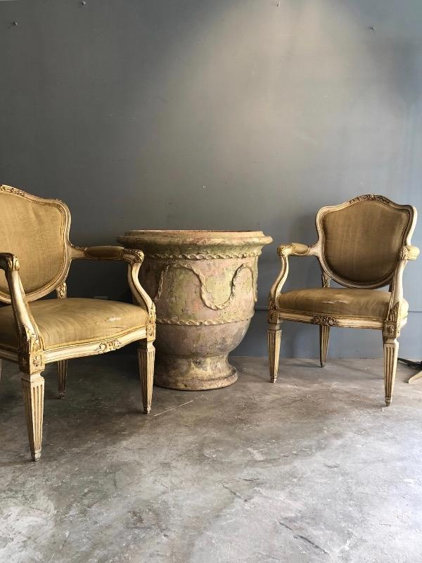 Nice pair of Italian armchairs 18th c original gilding