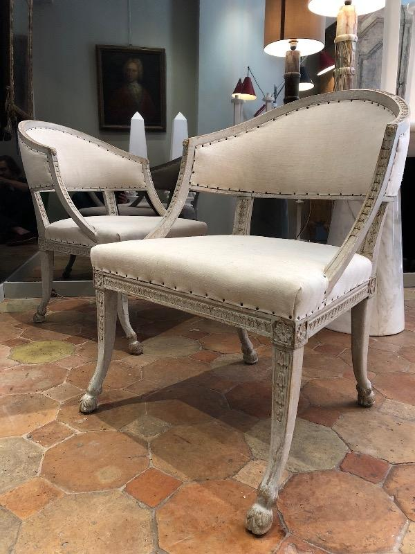 Nice pair of Swedish armchairs circa 1880