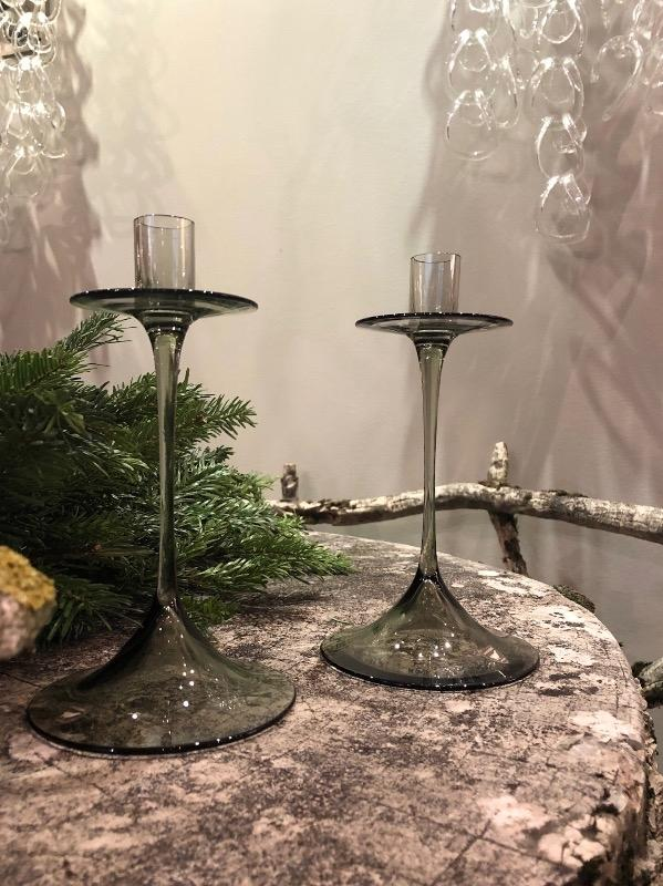 Nils LANDBERG pair of glass candelsticks Orrefors