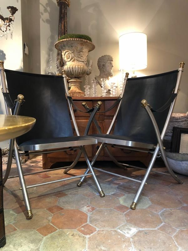 Otto Parzinger pair of campaign chairs manufactured by Maison Jansen circa 1970