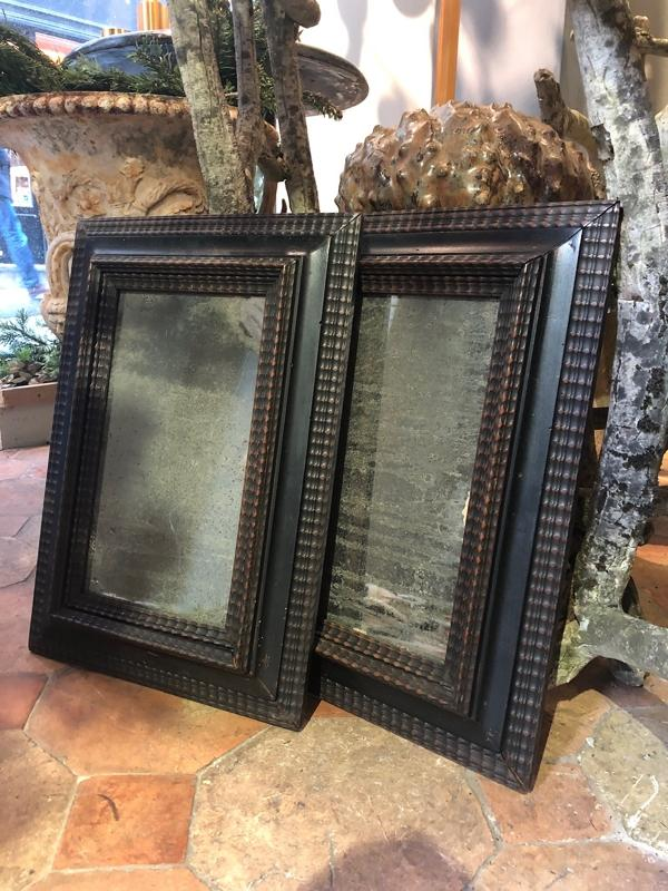 Pair of 19th c Mirrors in black wood