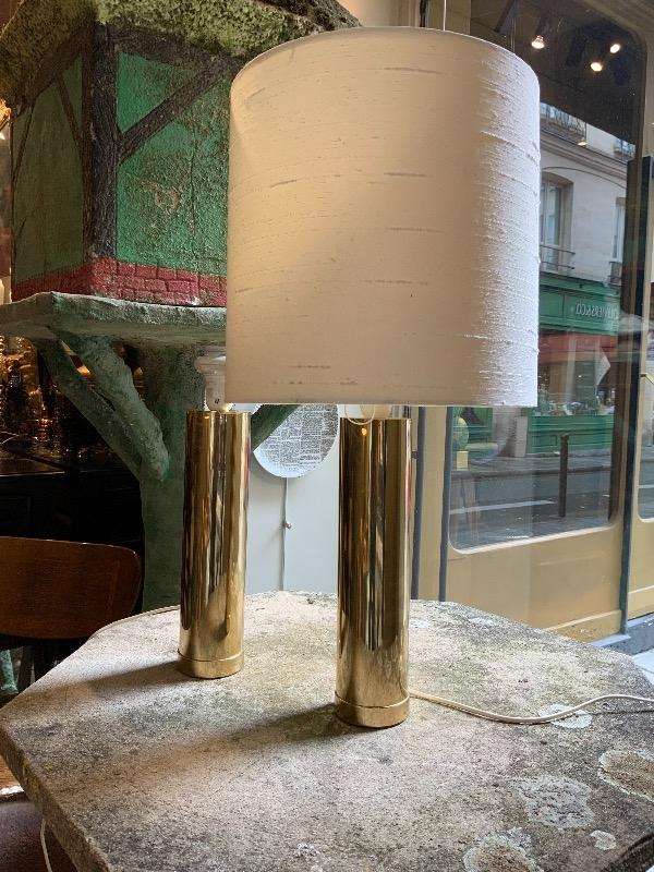 Pair of Bergboms brass table lamps Sweden circa 1960