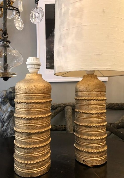 Pair of Bitossi gold glaze lamps sweden circa 1960