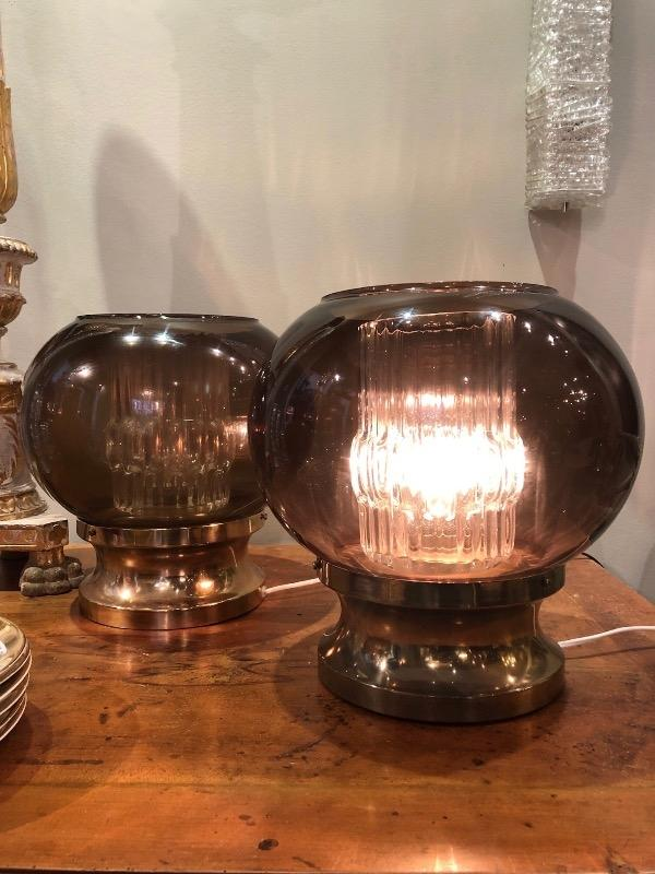 Pair of brass and glass table lamps Carl Fagerlund sweden circa 1960