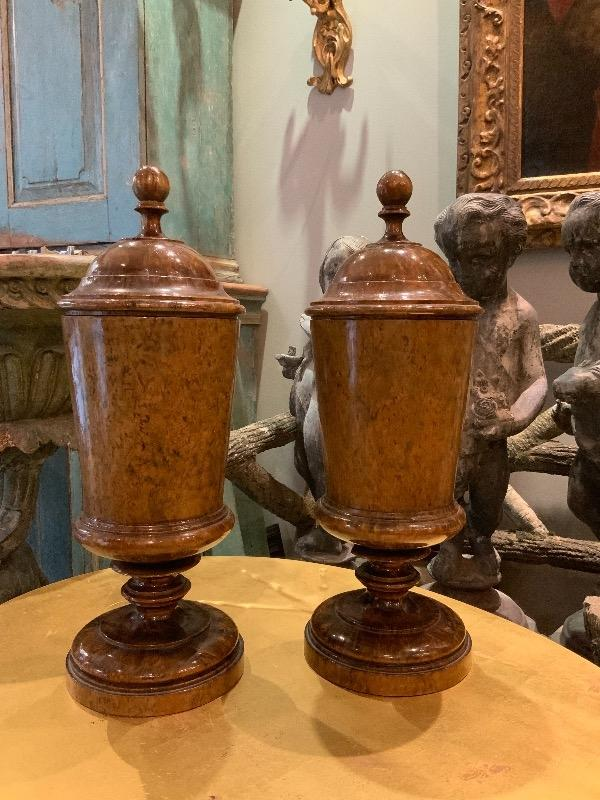 Pair of carelian birch urns circa 1900