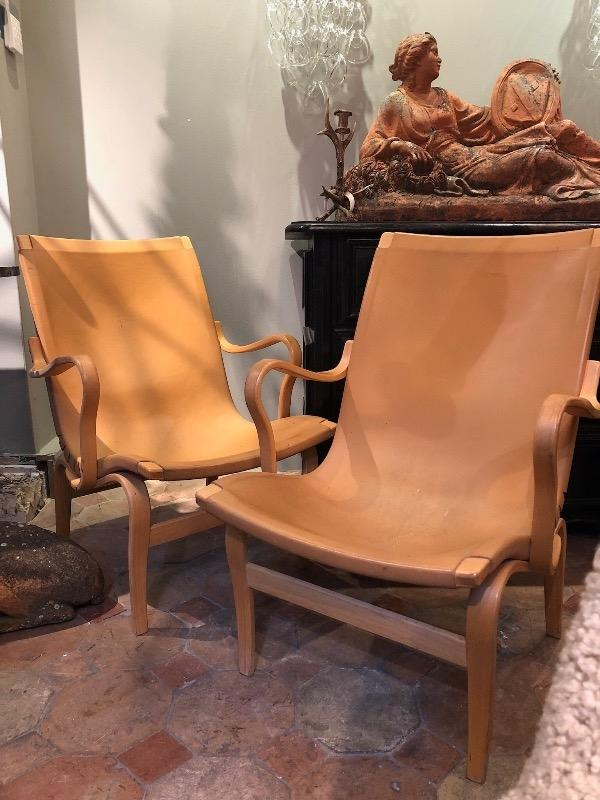 Pair of  Eva chairs Bruno Mathsson leather and wood dated 1978