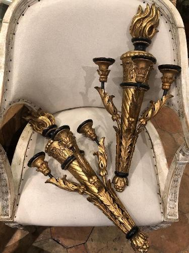 Pair of giltwood sconces 19th c