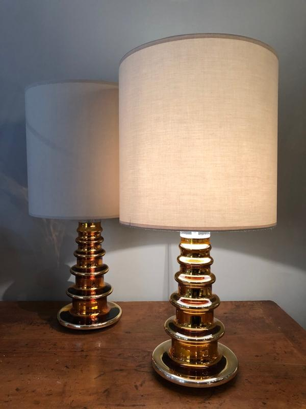 Pair of glass Swedish lamps circa 1960