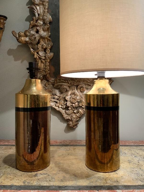 Pair of gold ceramic lamps Bitossi for Bergboms circa 1960
