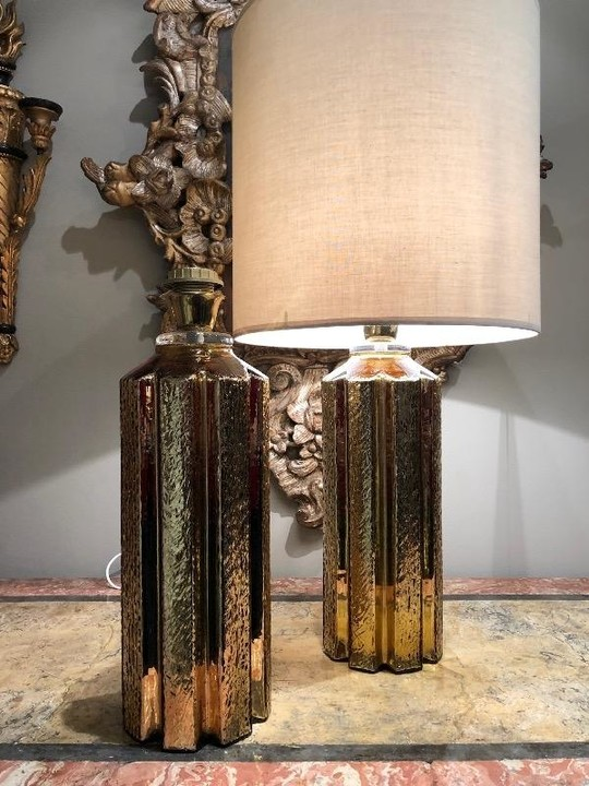Pair of gold glass lamps sweden circa 1960