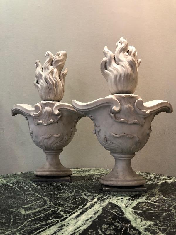 Pair of marble finials circa 1880
