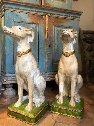 Pair of pottery dogs circa 1980