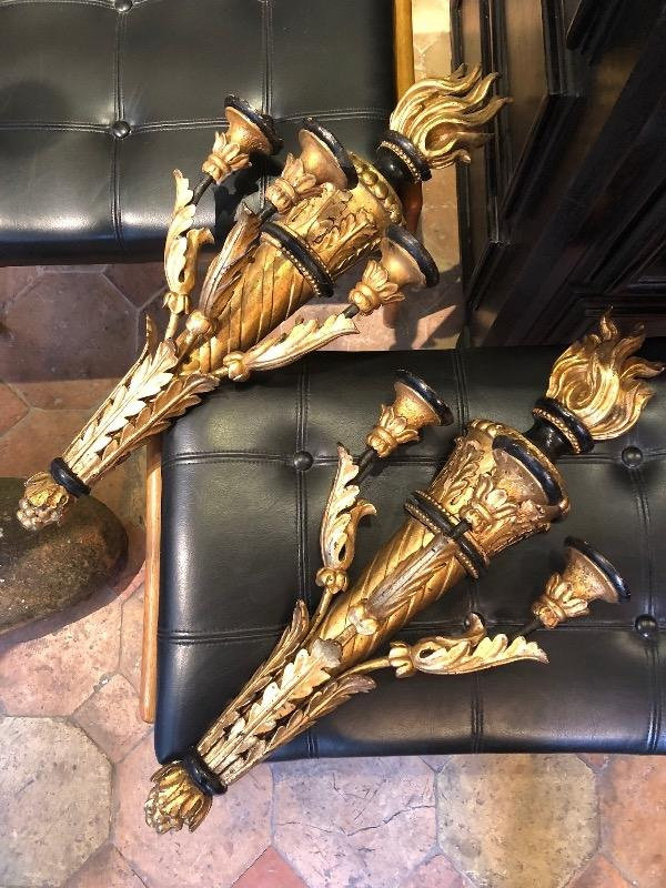 Pair of sconces circa 1800 in gilded wood