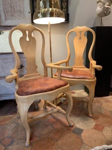 Pair of Swedish armchairs 18th c later painting