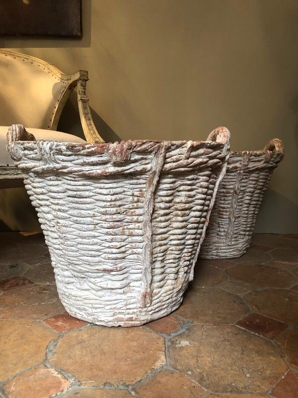 Pair of terra cotta baskets hand made