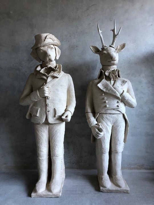 Pair of terra-cotta sculptures made by a french artist