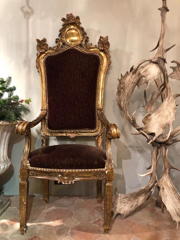 Rare and impressive Italian armchair 18th c