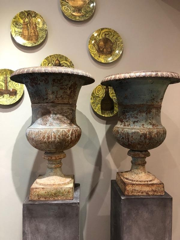 Rare pair of blue cast iron urns XIX