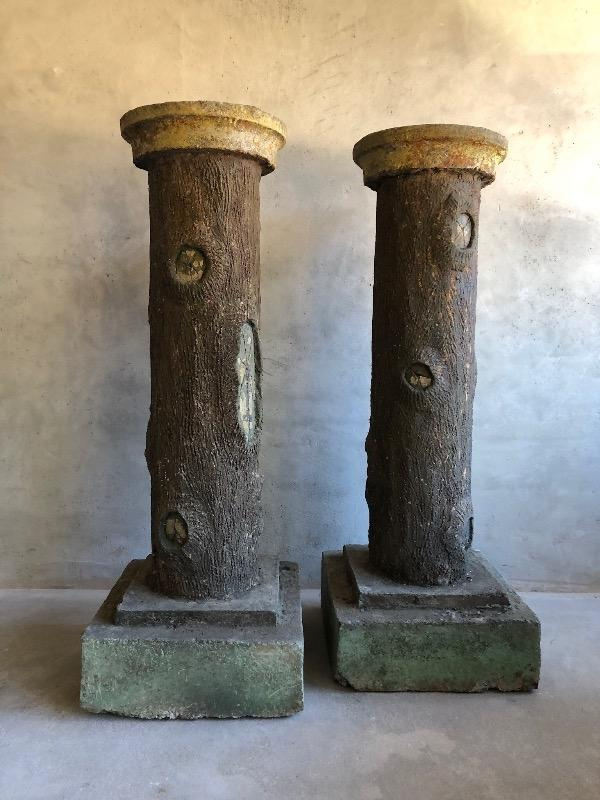 Rare pair of cement faux bois columns