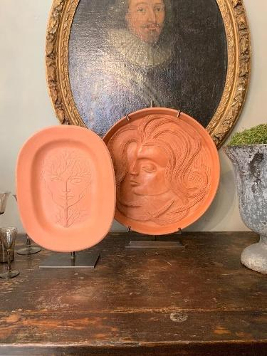 Rare set of 2 ceramics by Jean Marais