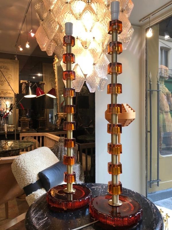 Tall pair of glass and brass Swedish lamps