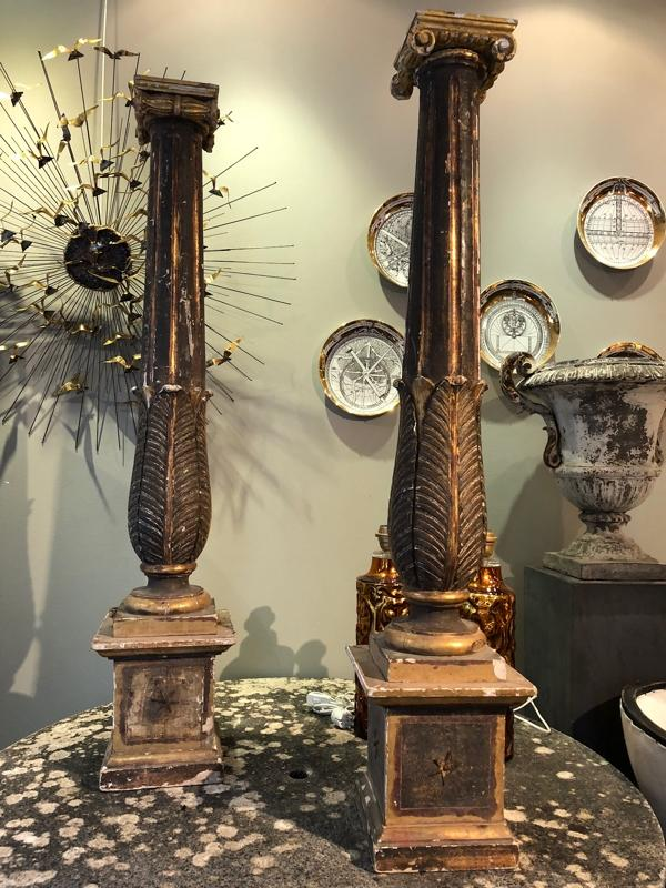 Tall pair of Italian columns Tuscany 18th c