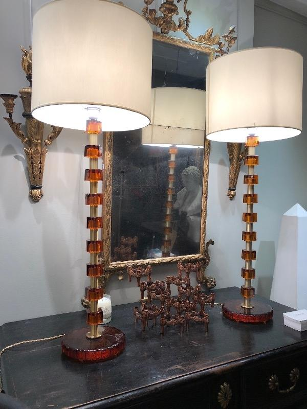 Tall pair of lamps in brass & Glass sweden Circa 1970