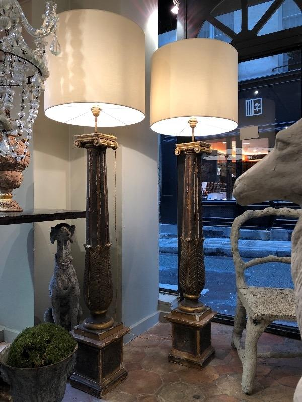 Tall pair of lamps made with Italian columns 18th c